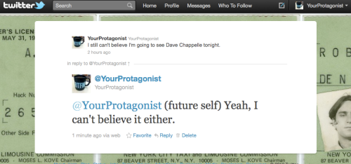 In which I share an ironic moment with myself.