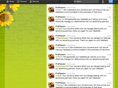ProFlowers.com Twitter feed, March 2, 2012