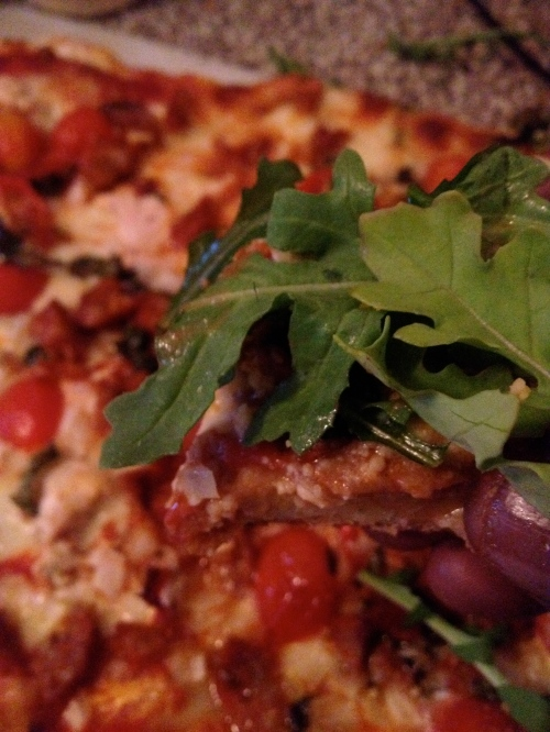 No time for salad? Arugula is an excellent pizza topping.